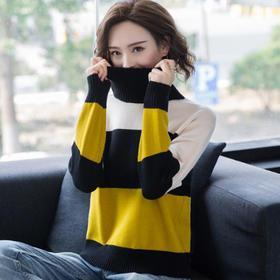 【寒冰紫雨】 堆堆领撞色女士长袖毛衣   AAA7624