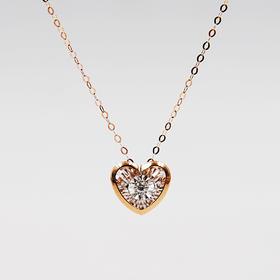 怦然心动*18K金玫瑰金钻石项链  爱心灵动系列
