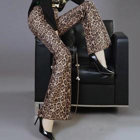 PDD-加绒加绒秋冬新款高腰豹纹休闲裤修身显瘦垂感微喇叭裤女长裤子