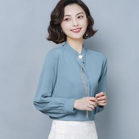 KQL-B19N9369新款时尚设计感小众长袖雪纺上衣