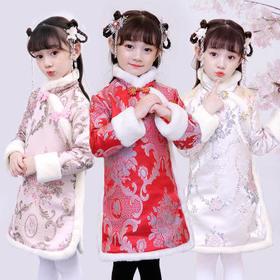 PDD-女童旗袍儿童唐装旗袍连衣裙女童冬裙加绒女孩年服加厚中国风