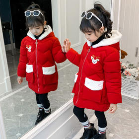 PDD-新款韩版公主儿童装宝宝冬季羽绒棉袄加厚中长款棉衣