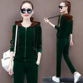 PDD-金丝绒套装女装春秋季长袖潮流时尚新款卫衣休闲运动服两件套