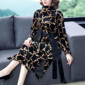 【寒冰紫雨】豹纹丝绒连衣裙女春季新款 长款贵夫人气质收腰过膝洋气裙子  AAA7667