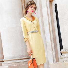FMY-25710新款条纹西装领气质修身连衣裙