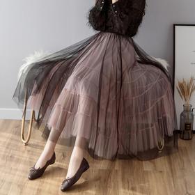 【寒冰紫雨】撞色双层网纱裙中长款半身裙多层次百褶裙 仙女蓬蓬裙大摆长裙   AAA7674