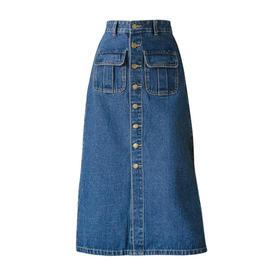 【寒冰紫雨】  A字长款排扣牛仔裙子  春秋装多口袋半身裙中长裙  AAA7675