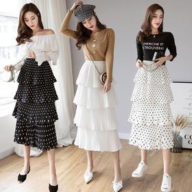 【寒冰紫雨】 蛋糕裙中长款半身裙多层次百褶裙 仙女蓬蓬裙大摆长裙  AAA7673
