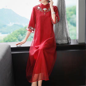 OG36102新款宽松复古风纯色立领裙TZF