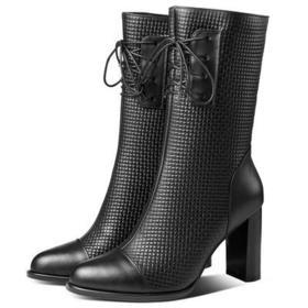 OLD-19619真皮中长靴高跟马丁靴