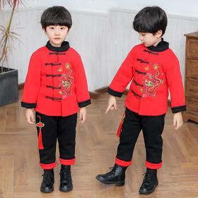 OJSS新款儿童唐装冬季加厚中国风套装TZF