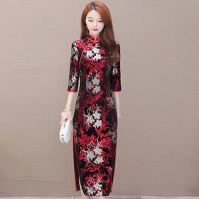 QYM-YJ-20ZN902印花长款潮流中式复古旗袍裙