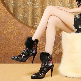 时尚印花,民族风真皮兔毛短靴OLD-N265-F1911