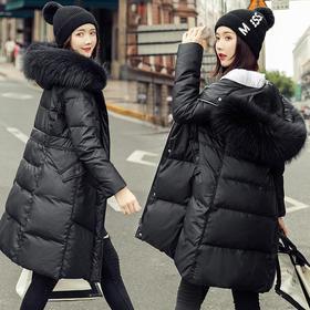 XW-5012冬季新款中长款修身大毛领连帽外套
