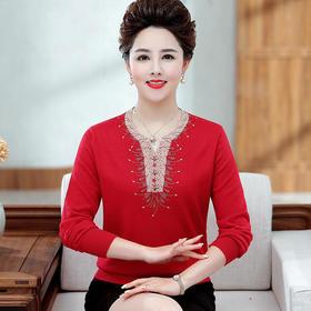 QYY-xx1916新款时尚圆领镶钻仿羊毛衫
