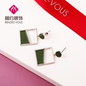 相约银饰S925银耳钉绿色方块耳钉