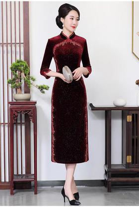 CM-69223立领绣花大码旗袍裙