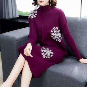 NYL-8313秋冬新款时尚韩版遮肚针织连衣裙