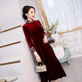 韩国绒复古时尚高档,刺绣敬酒晚礼服旗袍裙HYX-7303
