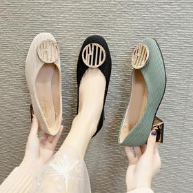 LN285新款2020韩版水钻绒面圆扣单鞋TZF