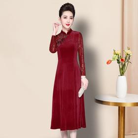 JS-QL8318秋冬新款妈妈装丝绒拼接蕾丝刺绣烫钻改良旗袍修身连衣裙