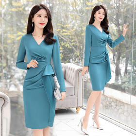 气质优雅时尚,潮流纯色连衣裙CQ-BLKE2001-1