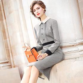 FMY-26160秋冬新款复古洋气时尚修身西装领中长裙