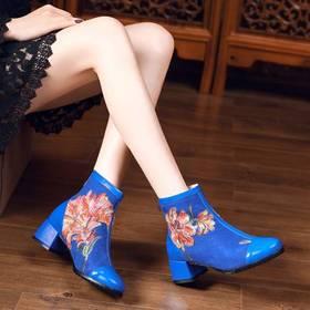 MJM-1544-9民族风绣花真皮拼接女靴
