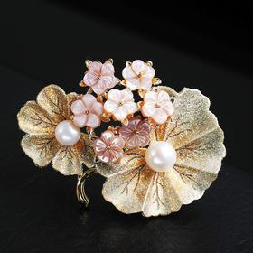 优雅荷叶胸针,贝壳淡水珍珠胸花