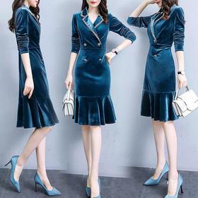 时尚潮流,休闲气质舒适长袖连衣裙RSLD8085