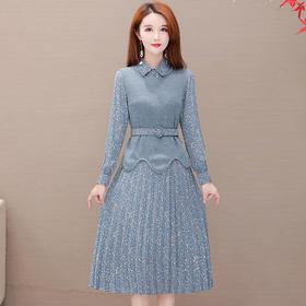 碎花时尚,气质中长款优雅两件套连衣裙YW-XQD-YMJ1979