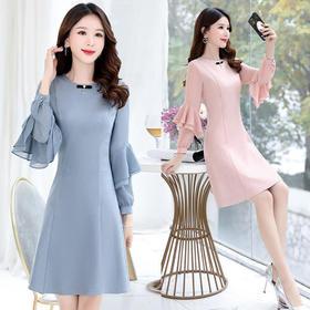 时尚显瘦,修身优雅纯色中长款连衣裙MLJL228