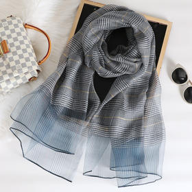 HY-新款英伦格子真丝羊毛桑蚕丝巾围巾