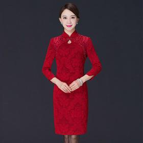 YM-8106新款妈妈装高贵婚宴礼服连衣裙