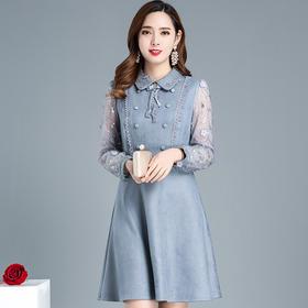 时尚气质,绣花娃娃领连衣裙YW-XH-QMW19B110