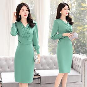 时尚潮流,长袖中长款优雅舒适连衣裙CQ-BLKE2002-1