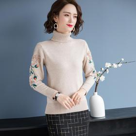 百搭套头高领,时尚刺绣针织衫YKYM-012-3870