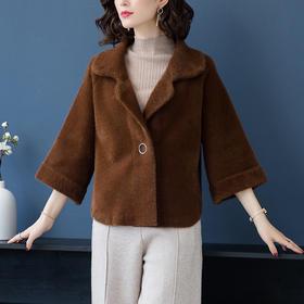 宽松加厚,针织短款仿水貂绒翻领开衫外套YKYM-023-9903