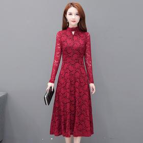 QYM-AEZ-QHSC232新款缕空时尚蕾丝长款修身半高领长袖百搭优雅连衣裙