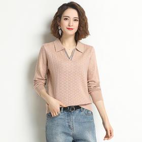 时尚简约,韩版宽松百搭短款翻领针织上衣YKYM-033-15100