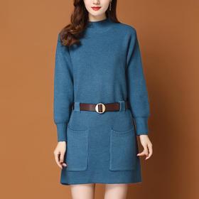 简约百搭,收腰显瘦中长款毛衣连衣裙YKYM-032-024