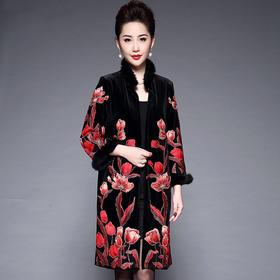 端庄优雅,镶钻刺绣毛领气质大衣YZL-671