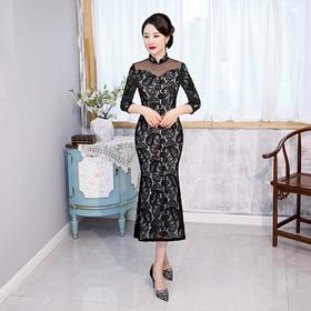 修身日常,九分袖网纱蕾丝长款鱼尾旗袍HYX-20-8510