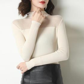 薄款修身,短款长袖半高领针织打底衫YKYM-008-885