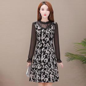 QYM-AEZ-Y9935中长款印花时尚显瘦连衣裙