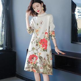FCY-MG93703新款印花半高领套头针织连衣裙