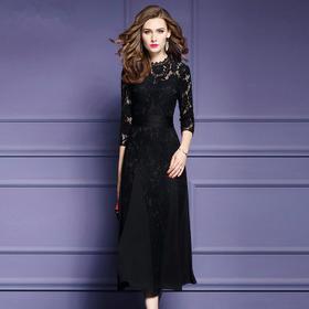 FMY-12405秋装新款黑色镂空绣花连衣裙气质优雅显瘦a字长裙