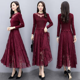 时尚百搭,纯色蕾丝中长款连衣裙CQ-QY20102
