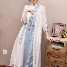 复古中国风斜襟,宽松系带开衫两件套OG-99373