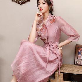复古小香风,刺绣连衣裙两件套OG-99378